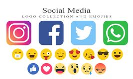 Collection of social media logos and emojies stock illustration