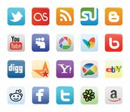Collection of Social Network Logos Stock Photography