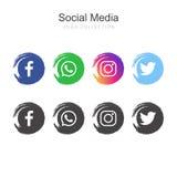 Collection sociale populaire de logo de médias illustration libre de droits