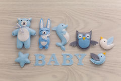Collection of soft toys. And the word baby Stock Photo