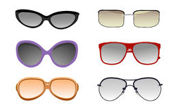 Collection of solar glasses. Vector illustration Royalty Free Stock Images