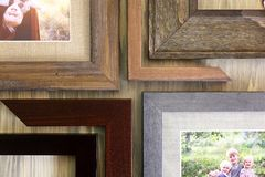 Collection of Solid Wood Picture Frame Samples stock photo