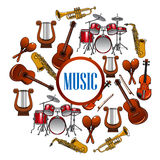 Collection of sound equipment or music instruments Stock Image