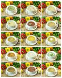 Collection of  soups Royalty Free Stock Photos
