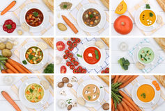 Collection of soups soup in bowl tomato vegetable noodle from ab Stock Photography