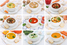 Collection of soups soup in bowl tomato vegetable noodle with ba Stock Photo