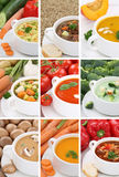 Collection of soups soup in bowl tomato vegetable noodle closeup Royalty Free Stock Image