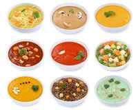 Collection of soups soup in bowl tomato vegetable noodle isolate Stock Photos