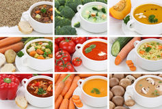 Collection of soups soup in cup tomato vegetable noodle closeup royalty free stock images