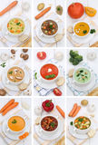 Collection of soups soup food in bowl tomato vegetable noodle Royalty Free Stock Photography