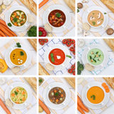 Collection of soups soup tomato vegetable noodle from above heal Royalty Free Stock Image