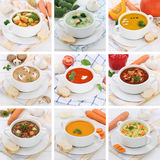 Collection of soups soup tomato vegetable noodle with baguette h Royalty Free Stock Photo