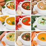 Collection of soups soup tomato vegetable noodle closeup healthy Stock Image