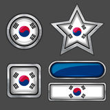 Collection of south korea flag icons Royalty Free Stock Photography