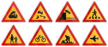 Collection of South Korean Warning Road Signs Stock Photo