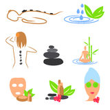 Collection of spa, massage, wellness icons vector illustration