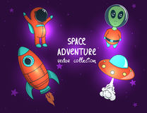 Collection of space objects and characters. Royalty Free Stock Images