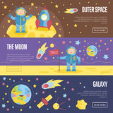 Collection of Space Theme Cartoon Web Banners Royalty Free Stock Photos