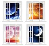 Collection of space windows Stock Photos