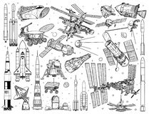 Collection of spacecraft, rockets and space doodles. Illustration of realistic spacecrafts and rockets set Stock Images