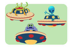 Collection of spaceship and alien. Cartoon UFO and alien hand drawn vector illustration Stock Photo