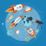 Collection of spaceship, planets and stars. Cartoon space icons. Hand drawn. Vector royalty free stock photos