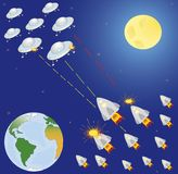 Collection of spaceship, planets and stars. Royalty Free Stock Image