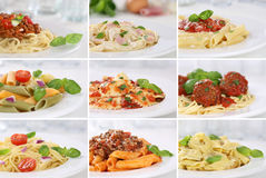 Collection of spaghetti pasta noodles food meals Royalty Free Stock Photo