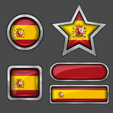 Collection of spain flag icons Royalty Free Stock Image