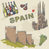 Collection of Spanish sightseeings and objects Stock Image