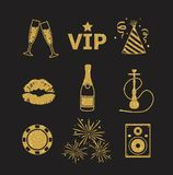 A collection of sparkling gold glitter stylized fancy night club and party icons for flier, banner, typography, web, design Stock Images