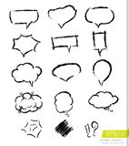 A collection of speech bubbles in brush stroke style Royalty Free Stock Photos
