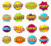 Collection speech bubbles and explosions in pop Royalty Free Stock Photos