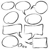 Collection of speech bubbles in hand drawn style Royalty Free Stock Photo