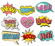 Collection of speech bubbles in retro style. Vector illustration isolated on white background Stock Images