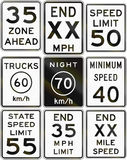 Collection of speed limit signs used in the USA.  stock illustration