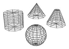 Collection of spheres and pyramids. Vector illustration Royalty Free Stock Photos