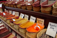 Collection of spices. A Collection of spices at the oriental market in granada, spain royalty free stock photo