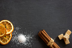 Collection of spices on dark stone plate. Aromatic spices concept, menu concept stock photography