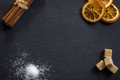 Collection of spices on dark stone plate. Aromatic spices concept, menu concept stock photos