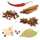 Collection of spices isolated on white Stock Photo