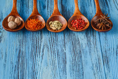 Collection of spices on wooden spoons Stock Photo