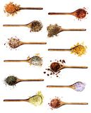 Collection of Spices. In Wooden Spoons: Curry, Coriander,  Dried Paprika, Salt with Chili and Petals, Thyme, Cumin and Turmeric, Dried Chili and Kosher Salt royalty free stock photography