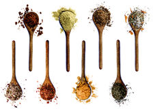 Collection of Spices in Wooden Spoons Royalty Free Stock Photography