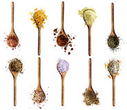 Collection of Spices in Wooden Spoons Royalty Free Stock Images