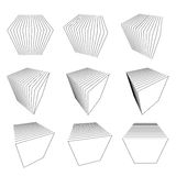Collection of split cubes. Collection of abstract split cubes Royalty Free Stock Photo
