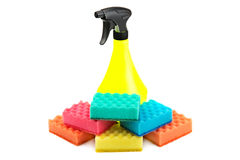 Collection of sponges and atomizer Royalty Free Stock Photos