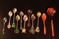 Collection of gift spoons from different countries. Collection of spoons from different countries Stock Image