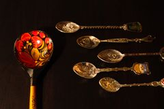 Collection of gift spoons from different countries. Collection of spoons from different countries Royalty Free Stock Photo