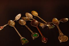 Collection of gift spoons from different countries. Collection of spoons from different countries Royalty Free Stock Photography